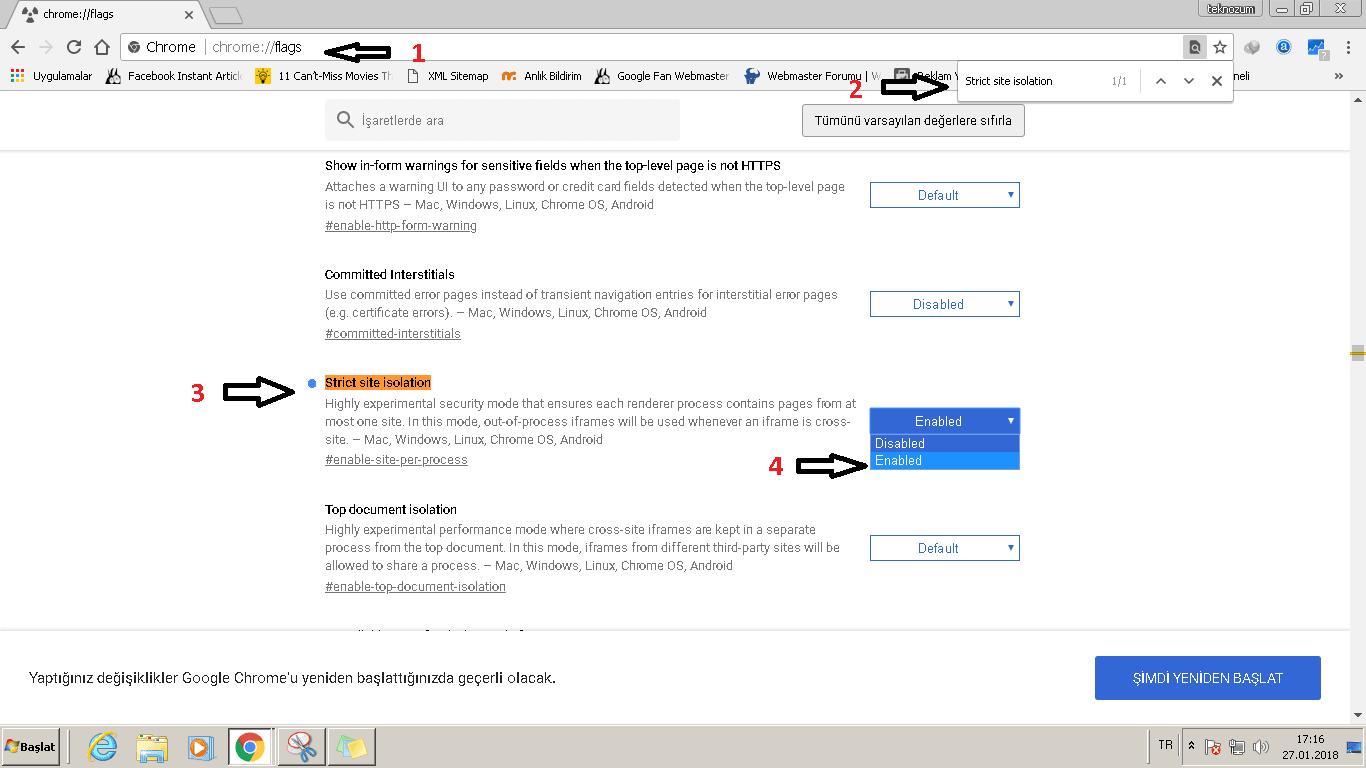 Chrome site izolasyonu