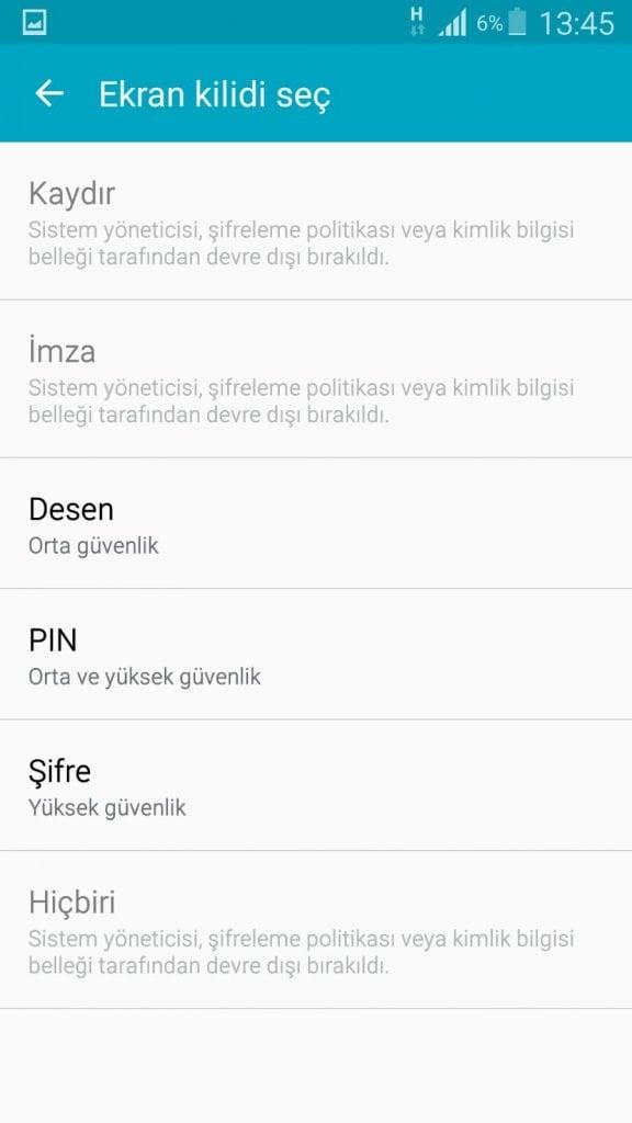 Telefonlara Ekran Şifresi