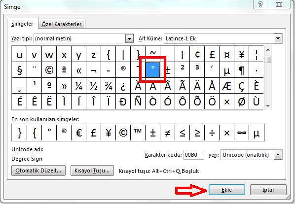 Klavyede Derece İşareti Kopyala