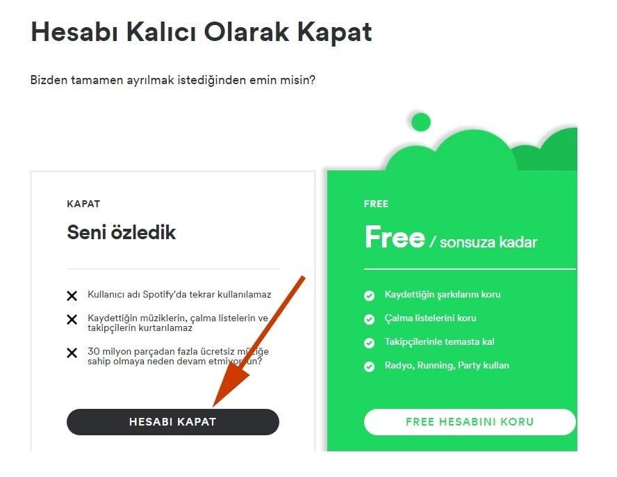 Spotify Hesap Kapatma