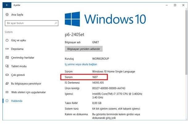 Windows 10 Sürüm Numarası Nasıl Öğrenilir?