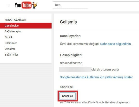 Youtube Kanal Hesap Silme