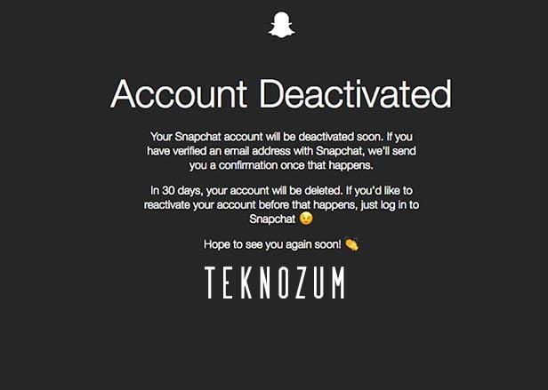 Snapchat Hesap Silme İşlemi